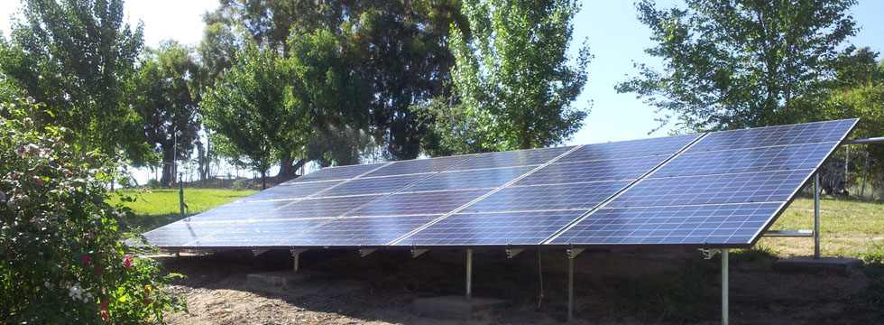 Ground mount solar panels installed