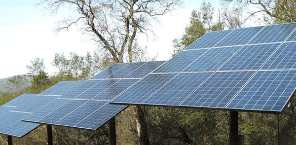Ground mount solar electric panels on poles